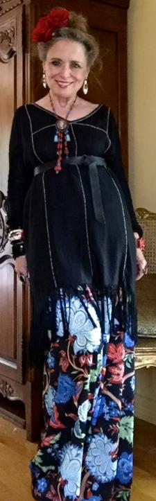 Antik Batik black fringed tunic and Alice & Olivia silk pants